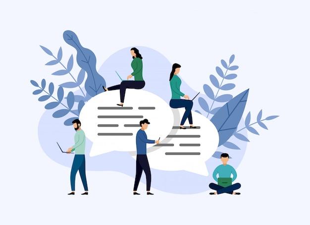 Bolhas de mensagem chat, pessoas conversando on-line, ilustração de negócios Vetor Premium