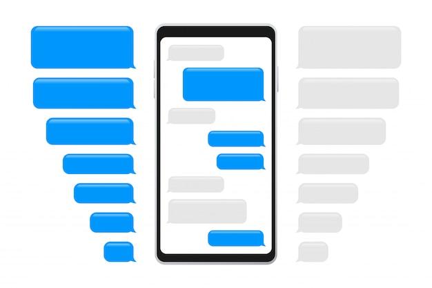 Bolhas de mensagens planas. interface de bate-papo. bolhas de mensagem Vetor Premium