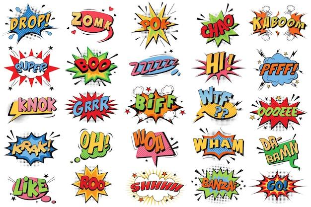 Bolhas de quadrinhos doodle conjunto. Vetor Premium