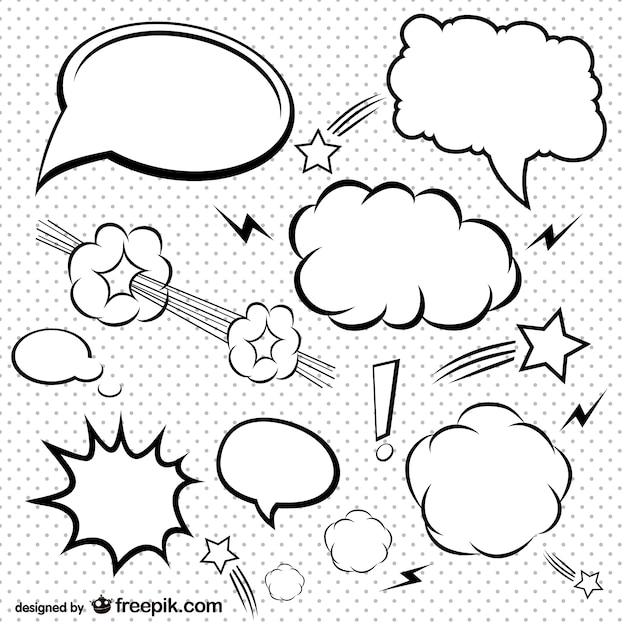 Bolhas de quadrinhos simples definir Vetor grátis