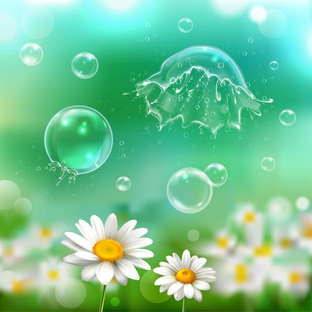 Bolhas de sabão flutuando estourando estourando explodindo acima imagem realista de flores de camomila com ilustração de fundo desfocado verde Vetor grátis
