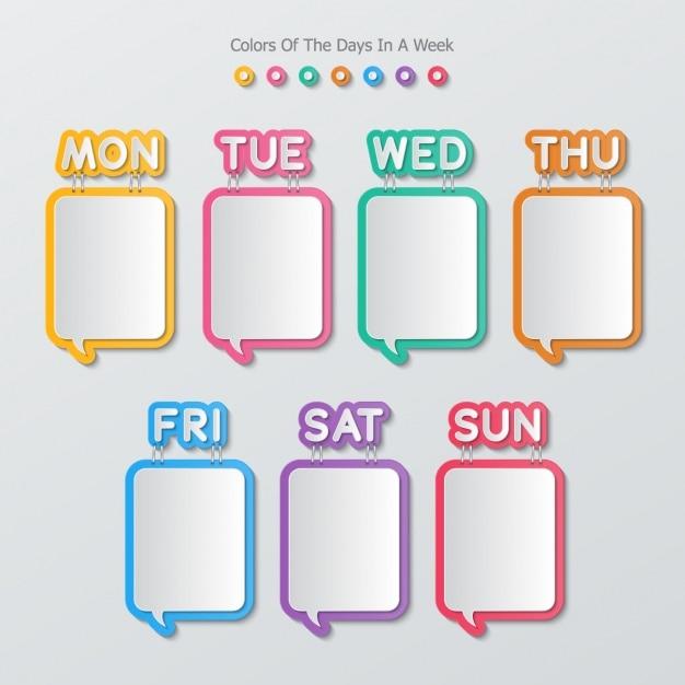 Bolhas de texto em forma de quadrado em um calendário Vetor grátis