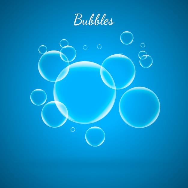 Bolhas do aqua da água no fundo azul. Vetor Premium