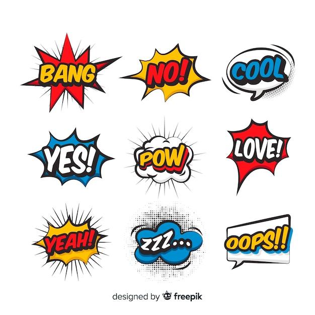 Bolhas do discurso colorido com expressões diferentes Vetor grátis