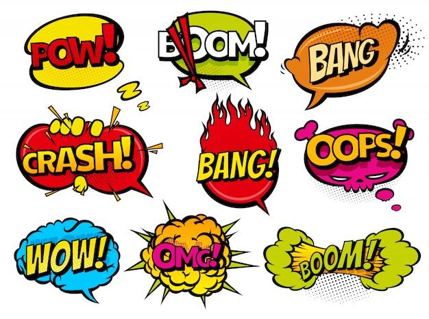 Bolhas do discurso de efeito sonoro de quadrinhos Vetor Premium