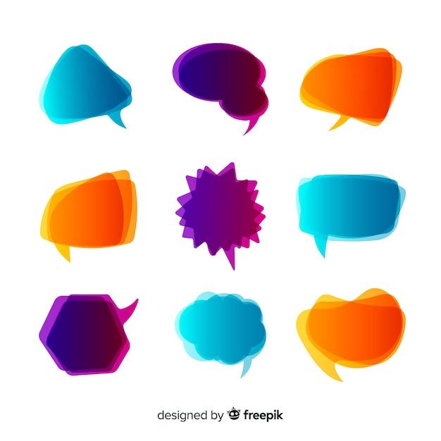 Bolhas do discurso de gradiente colorido intenso Vetor grátis