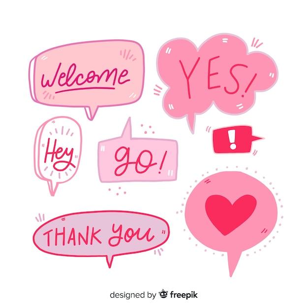 Bolhas do discurso de mão-de-rosa desenhada Vetor grátis