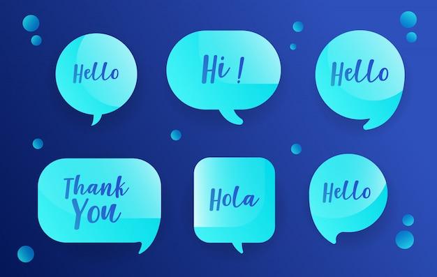 Bolhas do discurso de néon definido no design azul com mensagens Vetor Premium