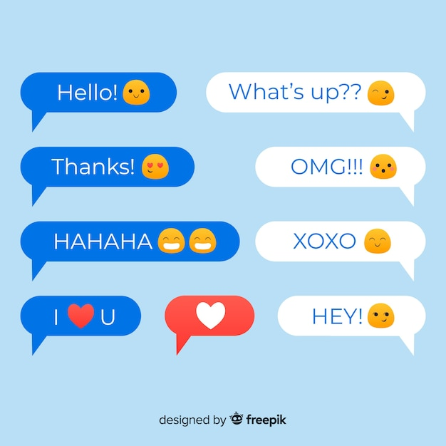 Bolhas do discurso design plano colorido com emojis Vetor grátis