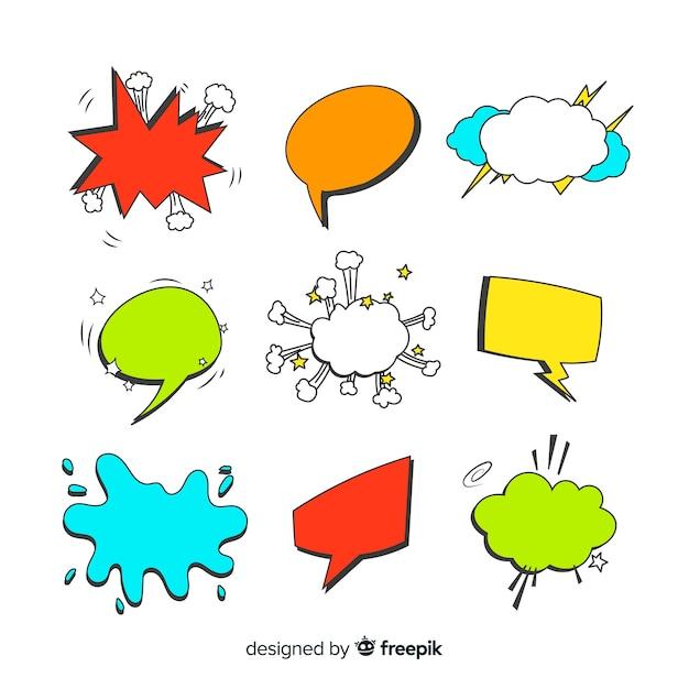 Bolhas do discurso em quadrinhos coloridos com variedade de formas Vetor grátis