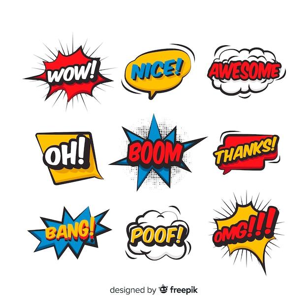 Bolhas do discurso em quadrinhos com diferentes expressões Vetor Premium