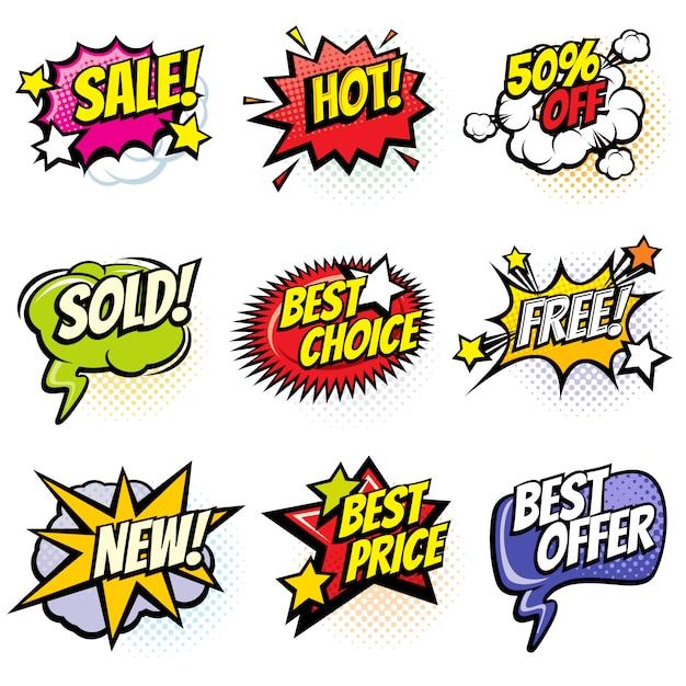 Bolhas do discurso em quadrinhos com palavras promo. desconto, venda e compras de desenhos animados banners vector set Vetor Premium
