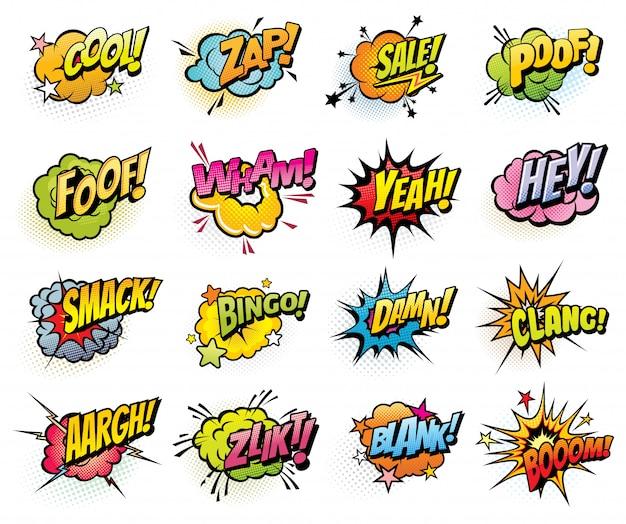 Bolhas do discurso em quadrinhos e ícones da explosão de som Vetor Premium