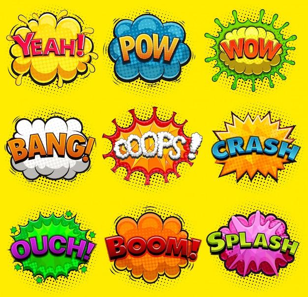 Bolhas do discurso em quadrinhos multicoloridos efeitos sonoros. Vetor Premium