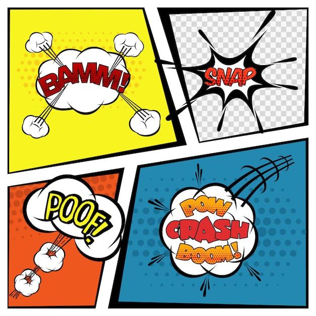 Bolhas do discurso em quadrinhos Vetor grátis
