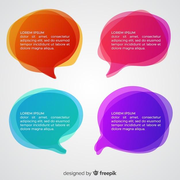 Bolhas do discurso gradiente de cores diferentes Vetor grátis