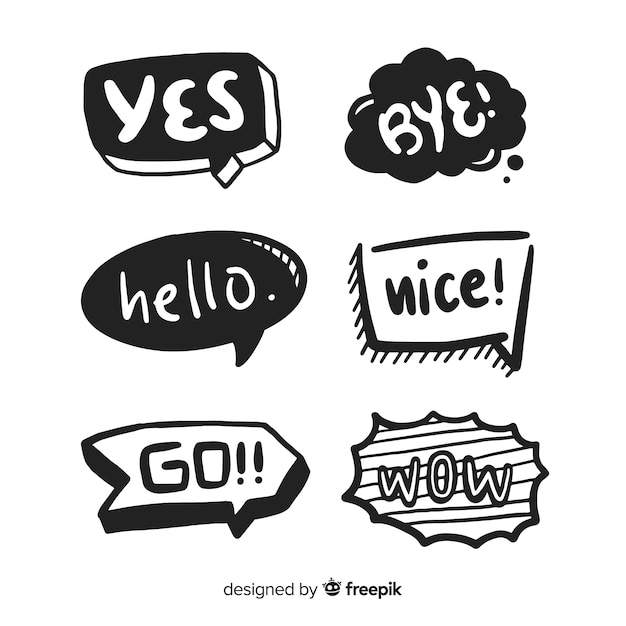 Bolhas do discurso mão desenhada com coleção de expressões Vetor grátis