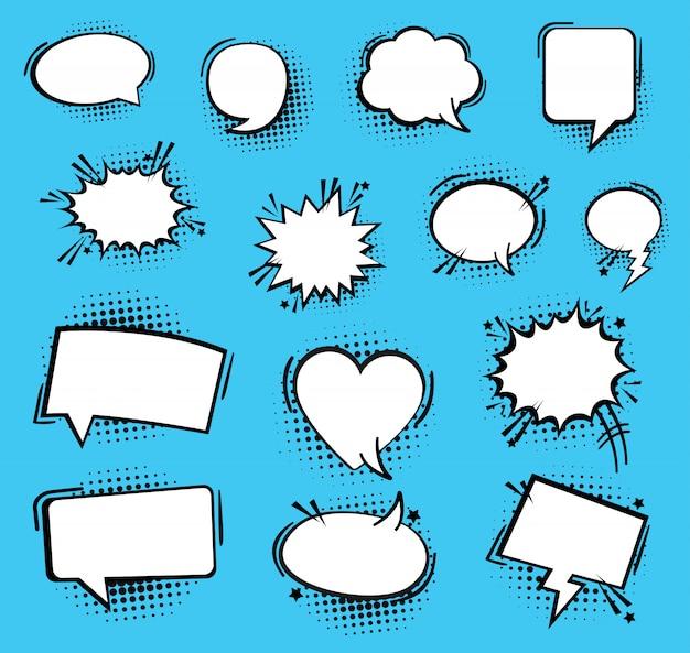 Bolhas do discurso ou do pensamento. bolhas do discurso em quadrinhos retrô vazio. ícone Vetor Premium