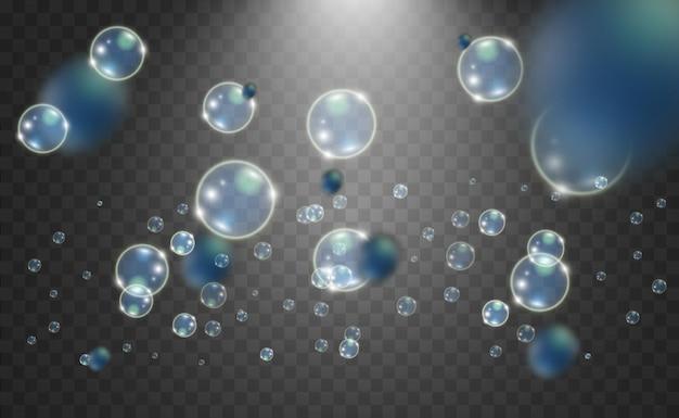 Bolhas em um fundo transparente. bolha. Vetor Premium