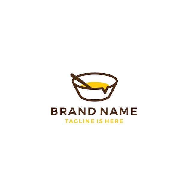 Bolinha de comida conversa bolha de palavras-chave social media vector icon logo template Vetor Premium