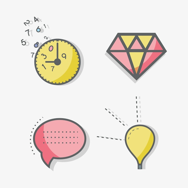 Bolinha de linha plana, bolinha, diamante, horário e ícone da lâmpada Vetor Premium
