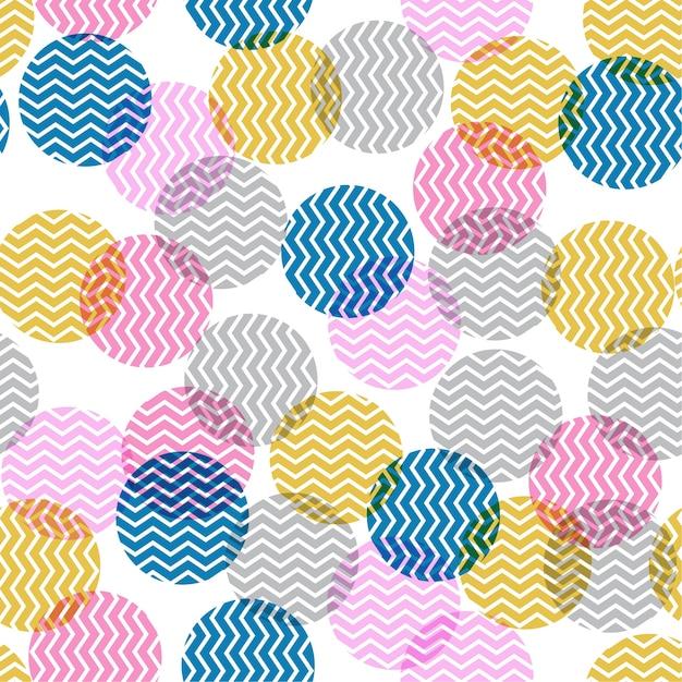 Bolinhas coloridas em ziguezague dentro sem costura Vetor Premium