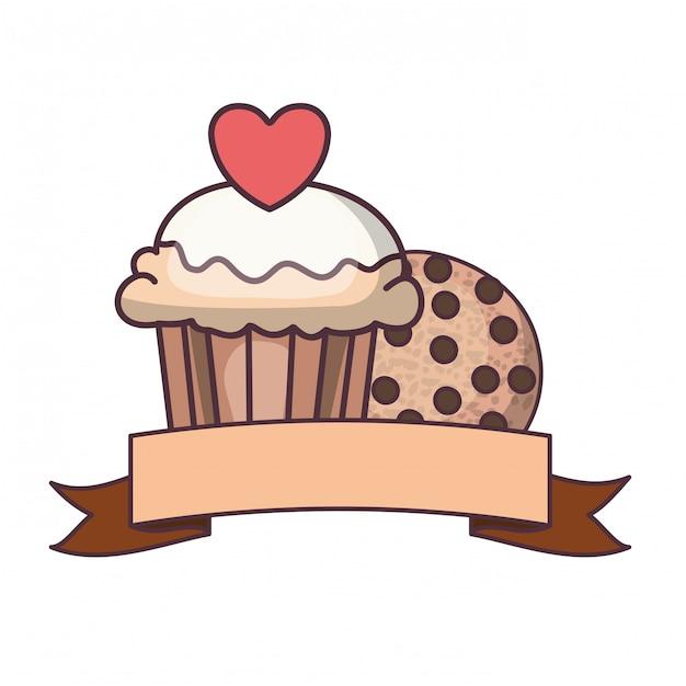 Bolinhos de padaria e biscoitos deliciosos Vetor Premium
