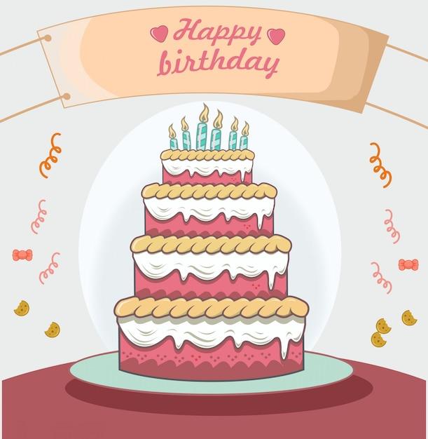 Bolo de aniversário com design plano de decoração de cartaz Vetor Premium