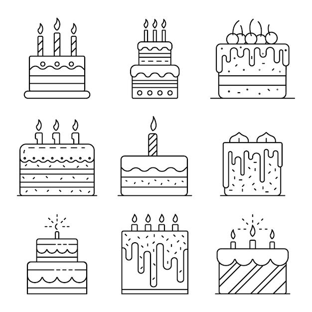 Bolo de aniversário conjunto de ícones. conjunto de contorno dos ícones de vetor de aniversário de bolo Vetor Premium
