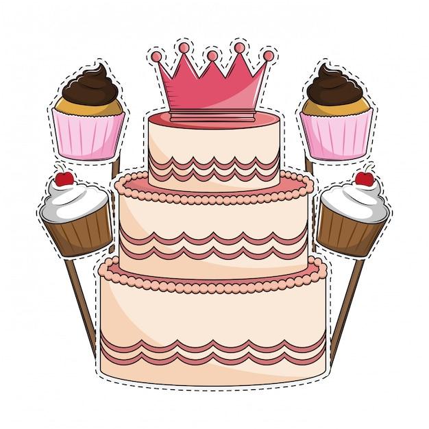 Bolo de aniversário e cupcakes Vetor Premium