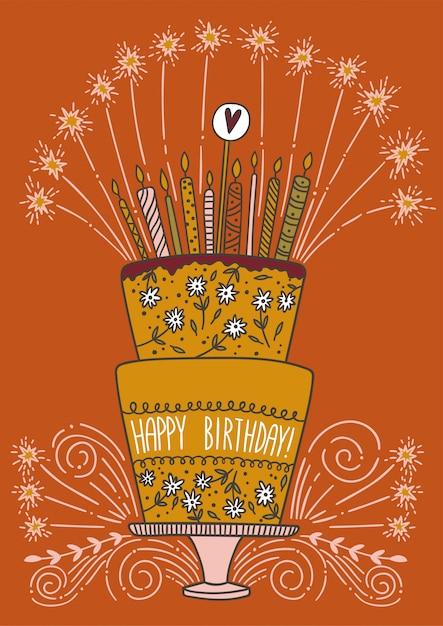 Bolo de aniversário feliz fofo com velas e fogos de artifício Vetor Premium