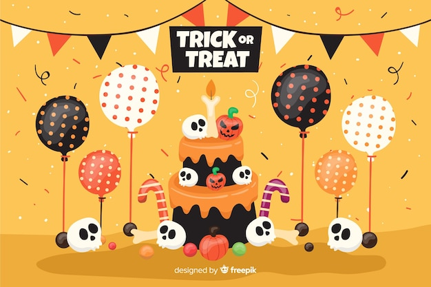 Bolo de aniversário plano de fundo halloween com balões Vetor grátis