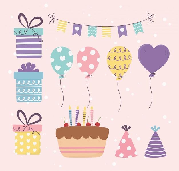 Bolo de aniversário presentes balões bunting decoração celebração feliz dia conjunto ilustração Vetor Premium