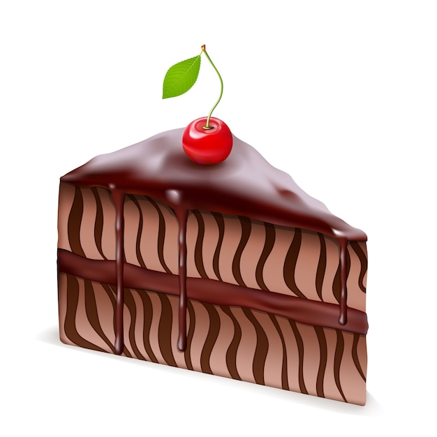 Bolo de chocolate com cereja isolado Vetor grátis