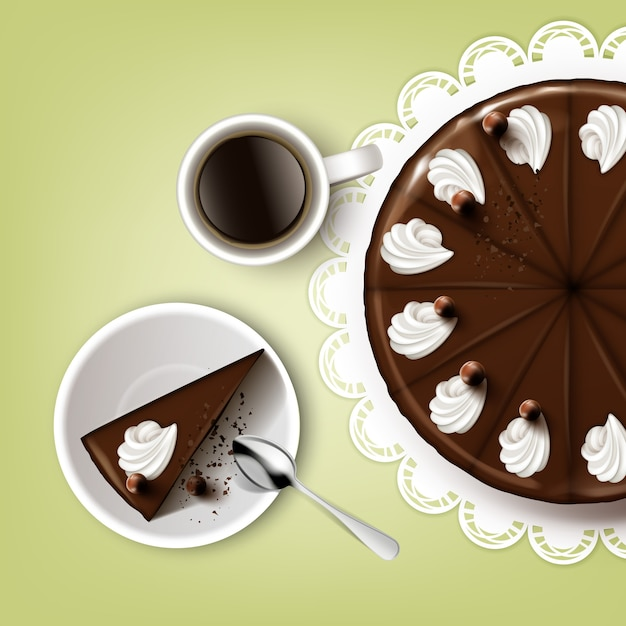 Bolo de chocolate de corte de vetor com cobertura, chantilly, xícara de café, colher, prato, vista superior do guardanapo de renda branca isolada em fundo de pistache Vetor Premium