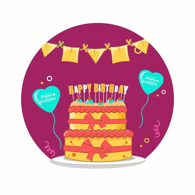 Bolo de feliz aniversário com balão de amor, design plano de decoração de bandeira Vetor Premium