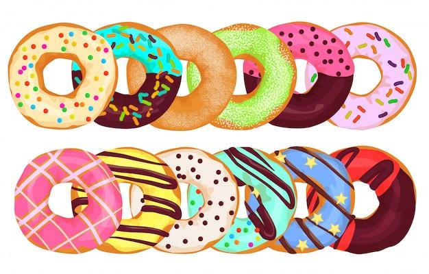 Bolo de rosquinhas donuts juntos. Vetor Premium
