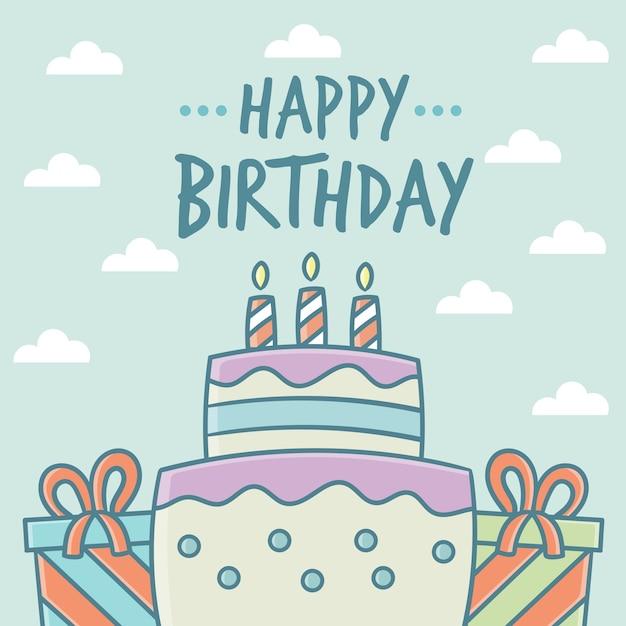 Bolo do feliz aniversario e cartão dos presentes  57b9795ba2d85