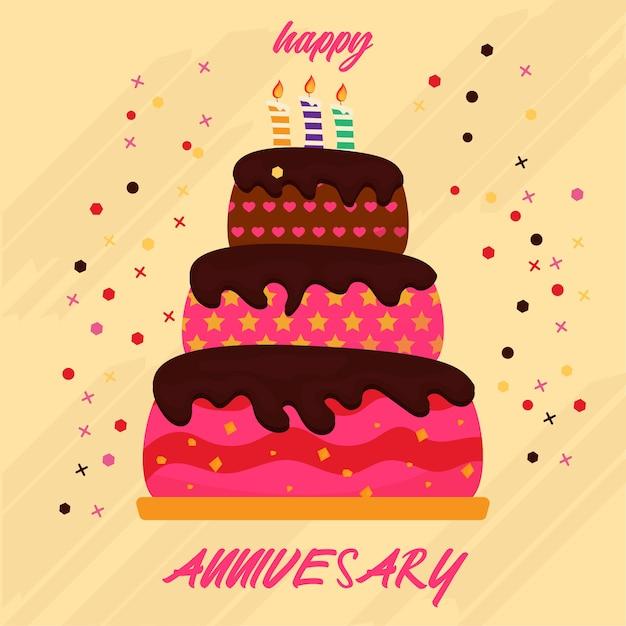 Bolo Feliz Anniversay Feliz Aniversário Gordura Três Níveis