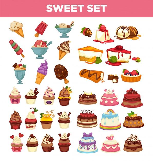 Bolos e bolos doces pastelaria sobremesas vector conjunto de ícones Vetor Premium