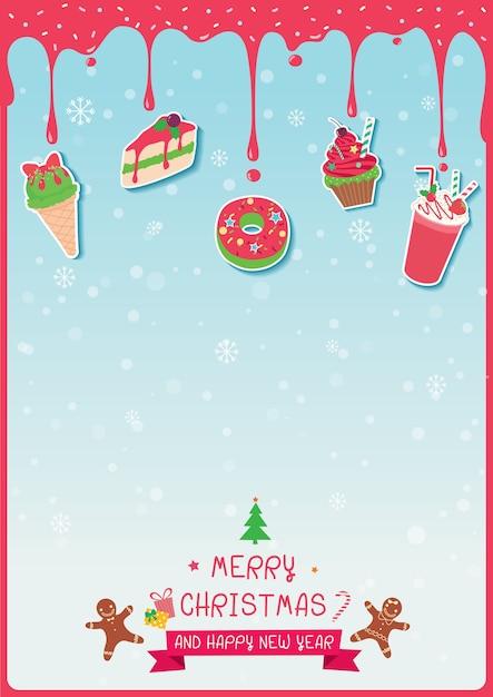 Bolos e sorvete decorados para o feriado de natal Vetor Premium