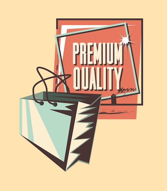 Bolsa de compras estilo grunge de qualidade premium Vetor Premium