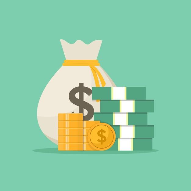 Bolsa de dinheiro Vetor Premium