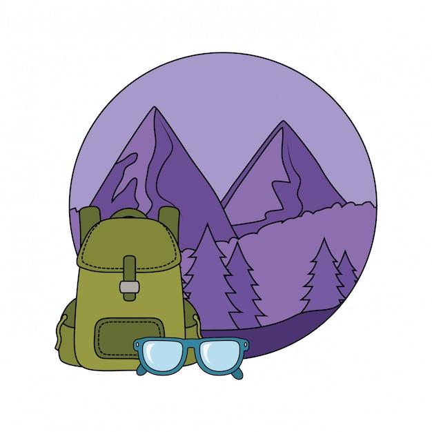 Bolsa de viagem acampar com óculos Vetor Premium