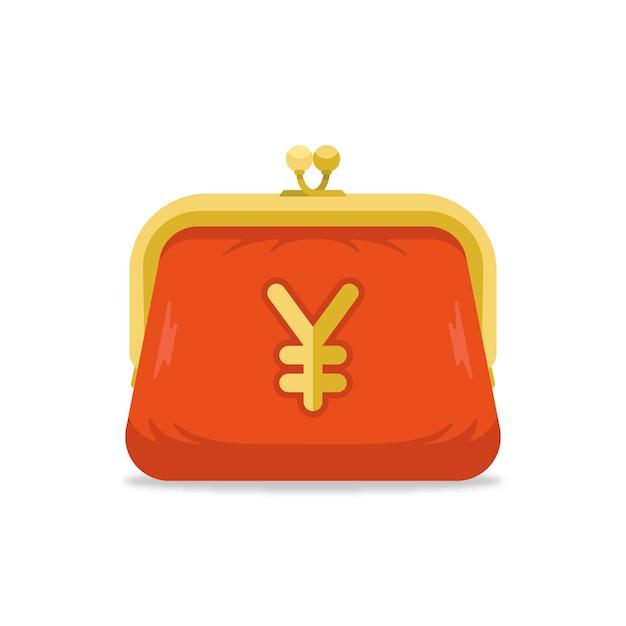 Bolsa moeda com símbolo do iene Vetor grátis