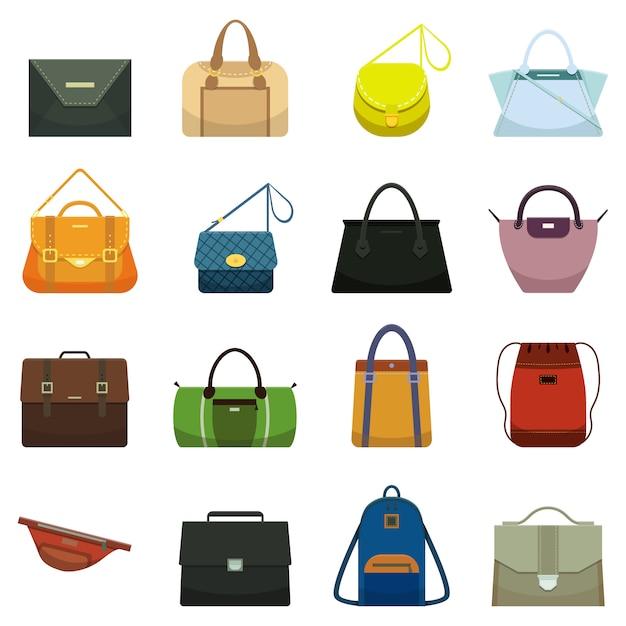 Bolsas de couro da forma fêmea e acessório masculino. Vetor Premium