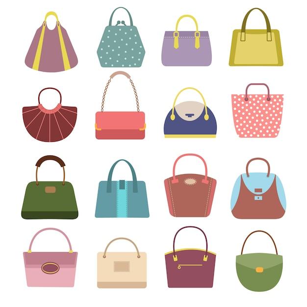 Bolsas e bolsas de couro para senhora. Vetor Premium