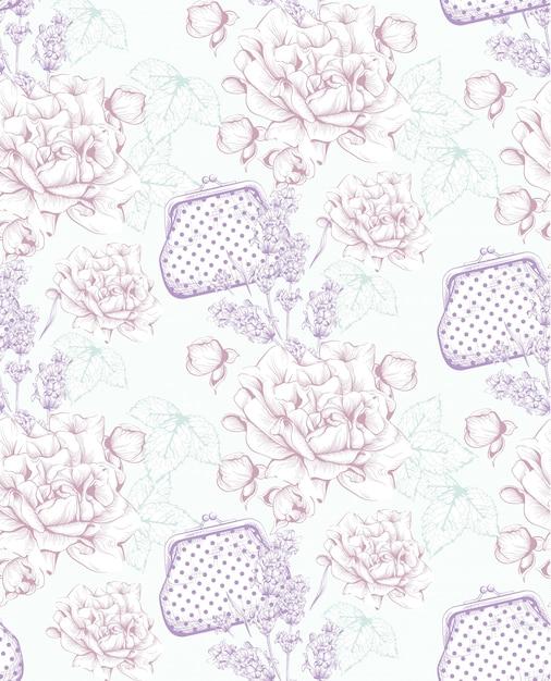 Bolsas vintage e padrão de flores. line art hand drawn backgrounds Vetor Premium