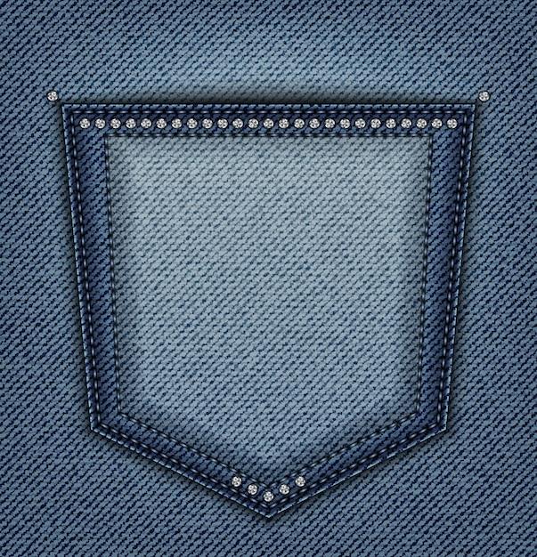 Bolso de calça jeans com lantejoulas Vetor Premium