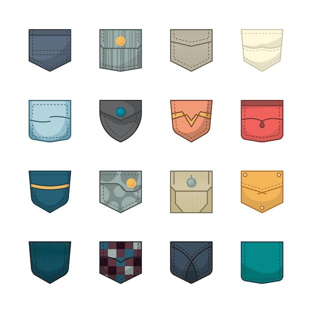 Bolsos coloridos. remendos e bolsos de tecido para coleção de jaquetas jeans de camisa de bolsas de roupas Vetor Premium
